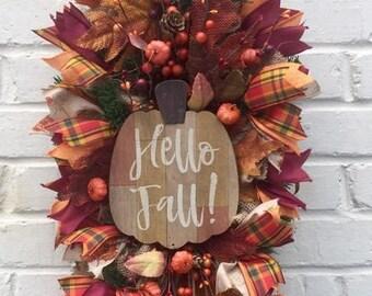 Hello Fall Burlap Pip Berry Swag, Fall Wag, Berry Swag, fall Wreath, Fall Swag,Autumn Swag, Autumn Wreath, Burlap Swag, Fall Burlap Swag
