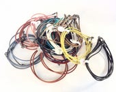 "70pcs colored leather bracelets with Sterling silver clasps salvaged lot destash 8"" long"