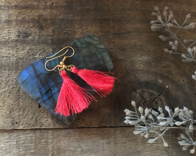 boho tassel earrings, salmon red earrings, cotton jewelry, unique gifts for mom, gifts for sister, fall jewelry trends, gift for wife
