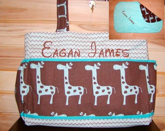 Diaper bag N Changing Pad Set..Giraffe N Chevron..with name.  Bow on request, choose end pockets and a font. Customize yours now.