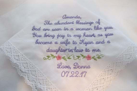 Wedding Handkerchief for the Bride from the Groom's Mother