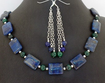 Lapis Lazuli Malachite Necklace Earrings Set Natural Stone