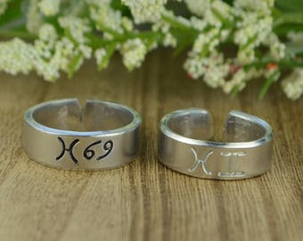 Any Two Zodiac Signs Adjustable Ring- Hand Stamped Aluminum Zodiac Symbols Ring- Size 4 5 6 7 8 9 10 11 12 including half and quarter sizes