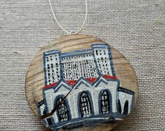 Michigan Central Train Station in Detroit ornament, hand painted rustic wooden Corktown gift