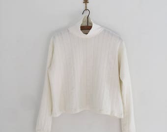 Vintage 90's Northern Reflections Winter White Cropped Turtleneck L