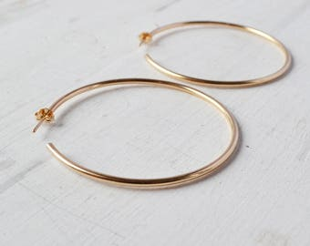 Classic Gold Hoop Earrings, Minimalist Rose Gold Hoop, Simple Hoop in Gold Filled, Large Gold Hoops, choose your size