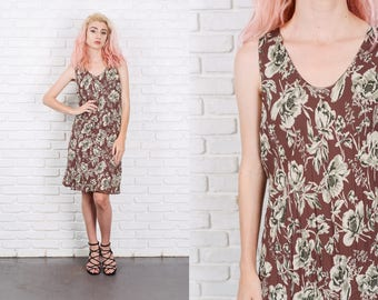 Vintage 90s Brown + Green Floral Leaf Print Dress Medium M 9845