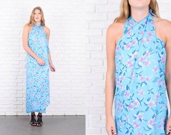 Vintage 70s Blue Hawaiian Dress Wrap Sarong Floral Print S M 9894