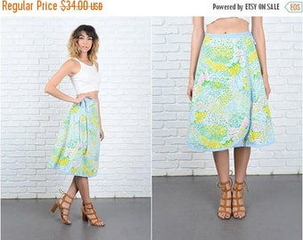 Sale Vintage 70s Green + Yellow Mod Skirt Wrap A Line Floral Print Small S 9314