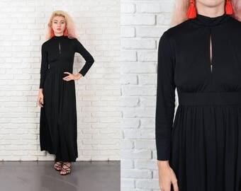 Vintage 70s Black Maxi Dress Mod Cutout Turtleneck Long Sleeve Party XS 10488