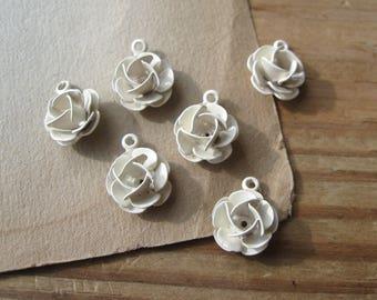 Vintage Cream Enamel Rose Charms 11mm Riveted Dimensional Petals (6)