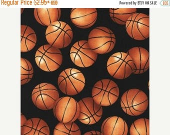 "SUMMER SALE Fat Quarter Only (18""X22"") of Large Basketballs on Black From Robert Kaufman"