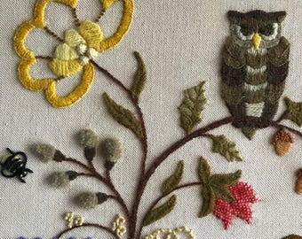"""Vintage Owl on a Branch with Flowers Crewel Wall Art. 17"""" x 17"""""""