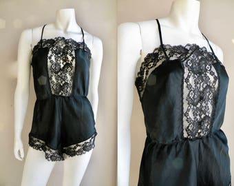 70s Black Lace bodysuit Lingerie One Piece Romper Teddy - M L