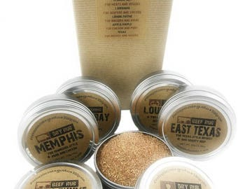 The PIT MASTER Barbecue Gift Set - Six Large BBQ Rubs in Box with Recipes - Perfect Gift for Dad