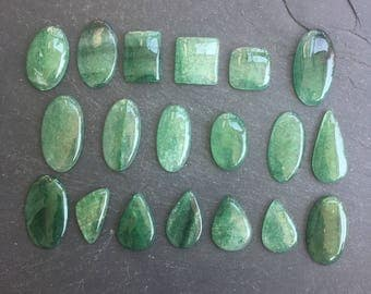 Green Aventurine Natural Stone Cabochons | Lot of 19 | Healing Stones | Wholesale Parcel Lot