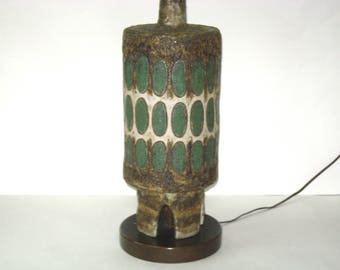 Maurice Chalvignac Atomic Mid Century Modern Pottery Table Lamp w/Lava Glaze & Rocket Base- Canada