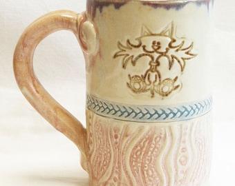 ceramic crazy cat coffee mug 16oz stoneware 16D065