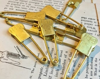 Vintage Brass Laundry pins -lof of 9
