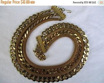 SALE 20% OFF Vintage CORO Signed Multi Strand Goldtone Necklace...Disco Baroque Statement