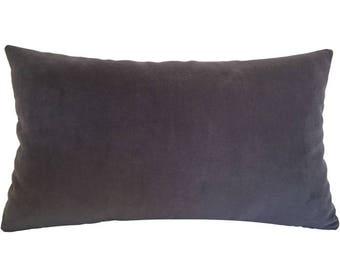 "Plum Velvet Suede Decorative Throw Pillow Cover / Pillow Case / Cushion Cover / 12x18"""