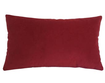 """Red Velvet Suede Decorative Throw Pillow Cover / Pillow Case / Cushion Cover / 12x20"""""""