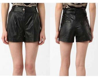 Black High Waist Leather Shorts // SM // M