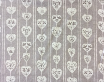 Makower 1295 Scandi Christmas Hearts 100% cotton fabric by the half metre