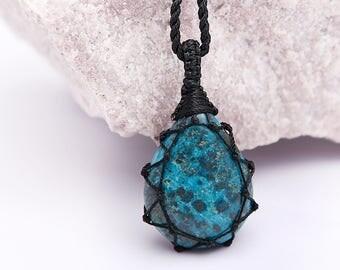 Genuine Turquoise Jewelry For Women, Boho Pendant, Men Turquoise Pendant Necklace, December birthstone, Sagittarius gift, Macrame Pendant