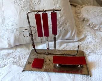 Antique French vanity dresser grooming manicure set kit w red bakelite w metal vintage manicure nail kit supplies vanity