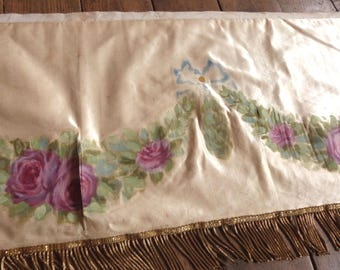 1800s altar frontal antependium cloth signed handpainted silk Antique French religious church liturgical fabric w roses gold bullion fringe
