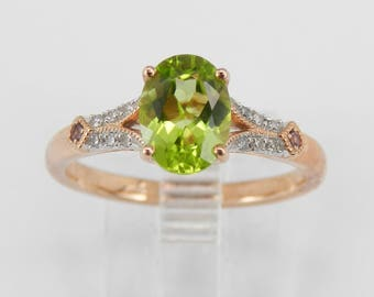 Peridot and Diamond Engagement Ring Promise Ring Rose Gold Size 7 August Birthstone