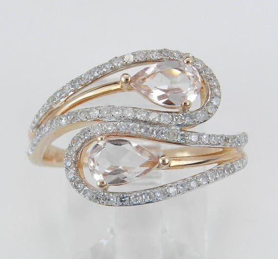 14K Rose Gold Diamond and Morganite Cocktail Bypass Ring Size 7.25 Beryl Gem