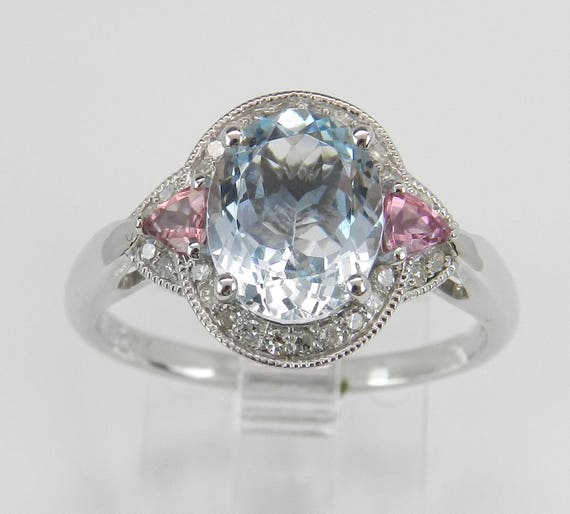 Aquamarine Pink Tourmaline Diamond Halo Engagement Ring White Gold Size 7