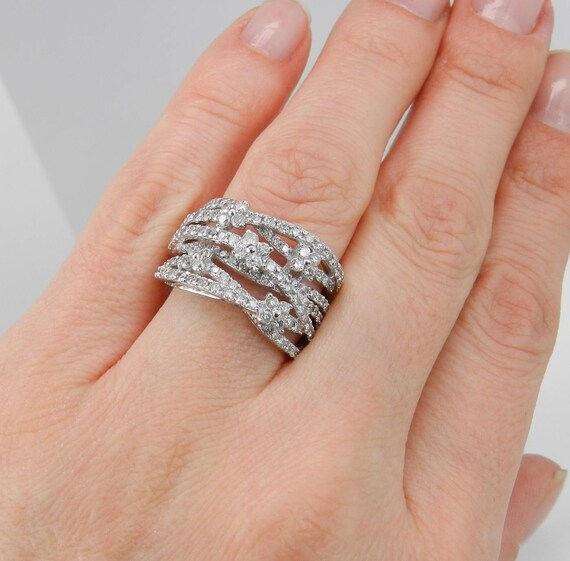 White Gold 2.00 ct Diamond Crossover Wedding Ring Multi Row Flower Band Size 7