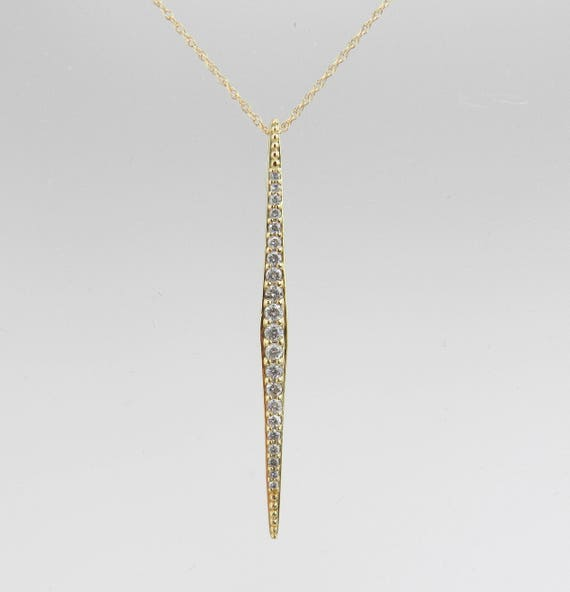 14K Yellow Gold Diamond Drop Pendant Wedding Gift Fashion Necklace Chain 18""