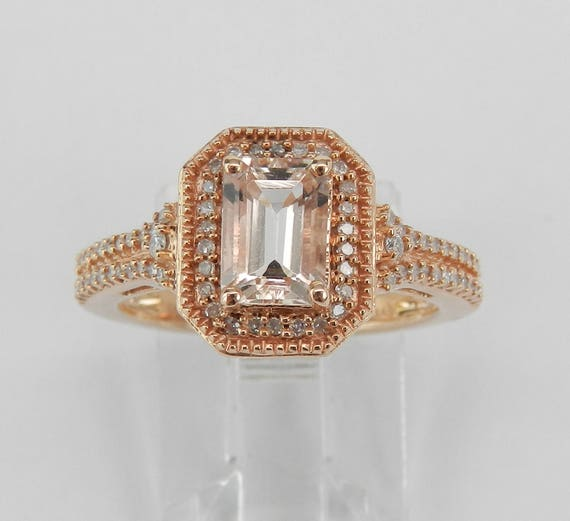 Emerald Cut Morganite and Diamond Halo Engagement Ring Rose Gold Size 7