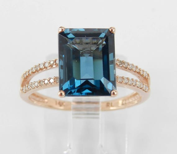 London Blue Topaz and Diamond Engagement Ring Emerald-Cut Solitaire 14K Rose Gold Size 6.75