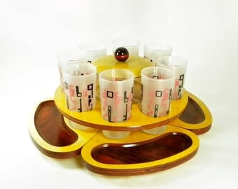 Monte Carlo Karoff Original Snack Bar Set, MCM, Lazy Susan with Glass Tumblers