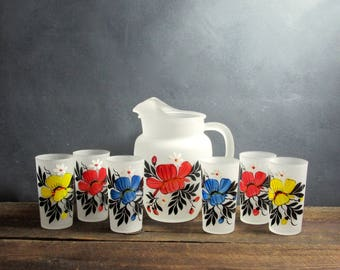 Retro Hazel Atlas Glass Pitcher and 6 Glasses, Gay Fad Studio, Barware, Retro Kitchen, Painted Glassware