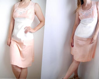 Vintage 60s 70s Dress Peach white Summer Dress Cotton Color block Sleeveless embroidred day dress / M/