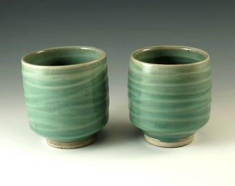 Tea Bowls - Pair of Handmade Pottery Tea Cups - Celedon Green Glaze - Ceramic Mugs - Yunomi - Couples Gift - Wedding Gift - M103/06