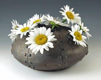Steampunk Home Decor, Fine Art, Handmade Flower Vase, Industrial Metal, Ceramics and Pottery, Home Decor, Steampunk Wedding,  MS114