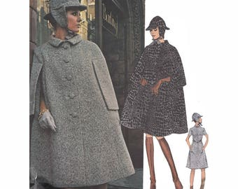 1970 Sybil Connolly of Dublin Couturier Design Cape A Line Dress and Hat Size 12 Bust 34 Sewing Pattern Vogue 2402