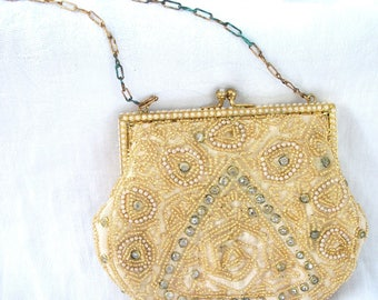 Vintage - Beaded - Faux Pearl & Rhinestone Purse - Antique - Satin Lined - Original Beveled Mirror included