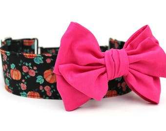 Dog Collar Bow Add-On Hot Pink Bow for Dogs Matching Dog Bow Dog Collar