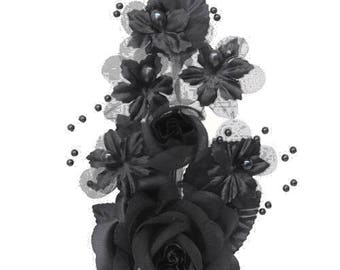 """6"""" Black Silk Corsage Flowers with Pearl Spray"""
