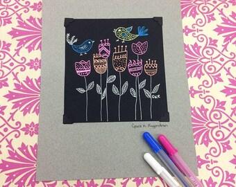 Gel Pen Illustration of Birds and Tulips