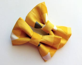 Mustard hair bows-set of two-- modern triangle grey mustard -pigtail hair clip for baby toddler girls