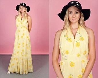 60s Daisy Print Halter Maxi Vintage Yellow White Bright Mod Dress